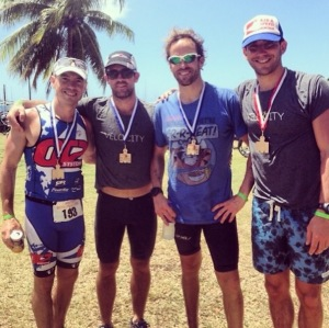 Team IFHF's own Winston Fisher (third from left) after the St. Croix Half Ironman this past weekend.